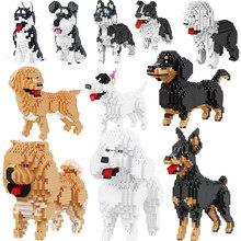 Micro blocos mini animais de estimação clássico pastor cães modelo kits de construção criador tijolos crianças brinquedos conjunto desenhos animados retriever