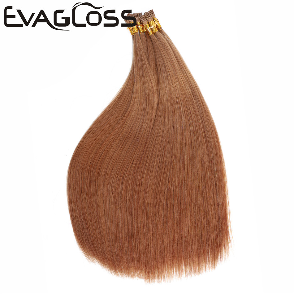 EVAGLOSS 0.8g Italian Keratin Fusion Pre Bonded Stick I Tip Cuticles Aligned Natural  Russian Remy Human Hair Extensions