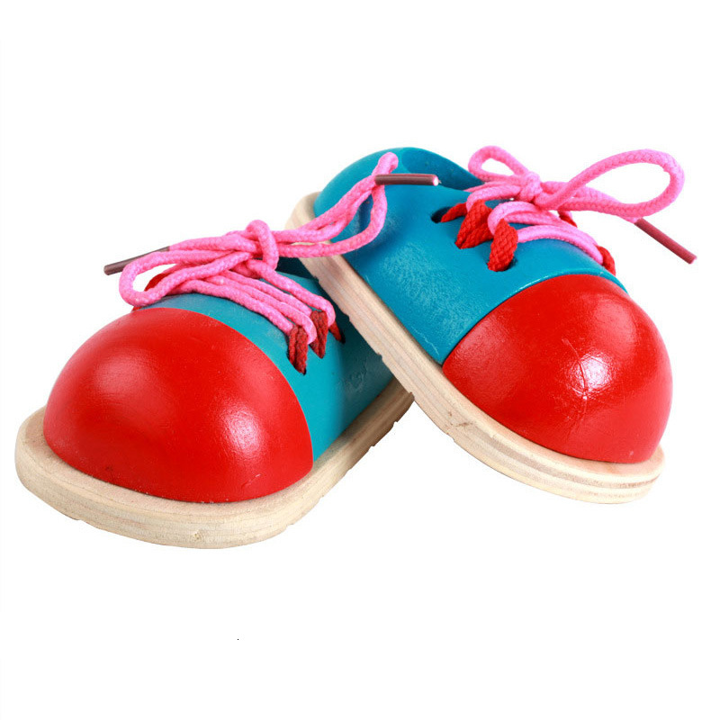 Educational Wooden Toddler Lacing Shoes Early Teaching Children Toys In Stock