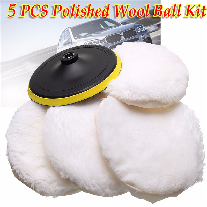 5Pcs Polishing Pad Wheel Soft Wool Ball Bonnet Kit 7