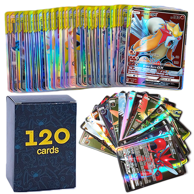 120pcs No Repeat Pokemons GX Cards Shining TAKARA TOMY Card Game VMAX TAG TEAM Battle Trading Carte Best Selling Kids Toys Gift