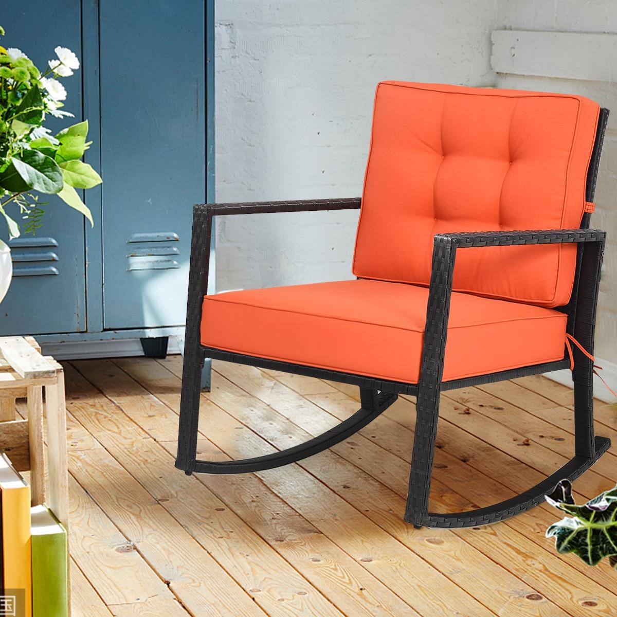 Costway Patio Rattan Rocker Chair Outdoor Glider Wicker Rocking Chair Cushion Lawn Deck