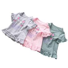 Летняя футболка с коротким рукавом для девочек детское летнее