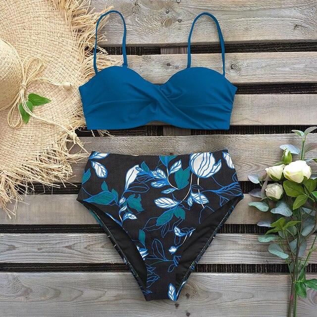 Leaf Print Bikini Female Swimsuit Women Swimwear Thong Push Up Bikinis Set High Waist Swimming Suits for Bathing Suit
