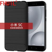 HOT FHUIL Phone Case For Xiaomi 5c Carbon Fiber Style Bumper Shockproof TPU MI 5C Silicone Back Cover