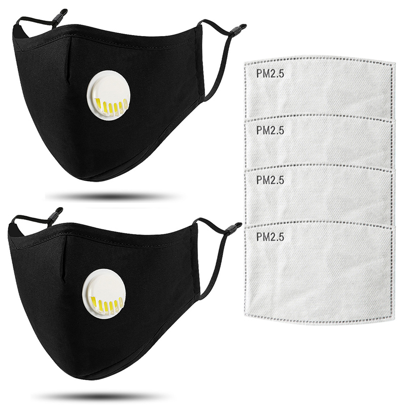 2pcs Cotton Respirator Mask Washable Insertable Pm2.5 Filter Anti Dust Mask 5 Layers Reusable Black Adult Mask With Elastic Rope