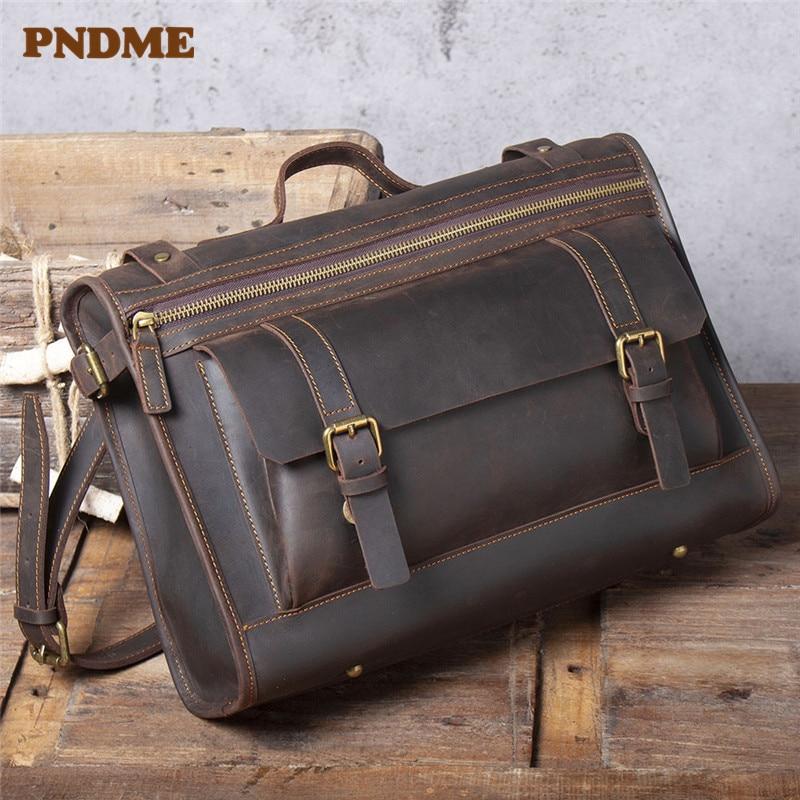 PNDME Retro Genuine Leather Men's Briefcase Real Crazy Horse Cowhide Work Shoulder Messenger Bags Luxury Business Laptop Handbag