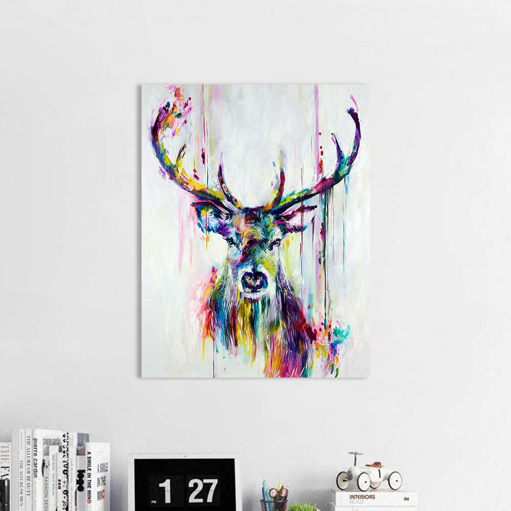AAVV Wall Art Colorful Deer Wall Pictures for Living Room Oil Painting Posters and Prints Canvas Art Home Decor No Framed
