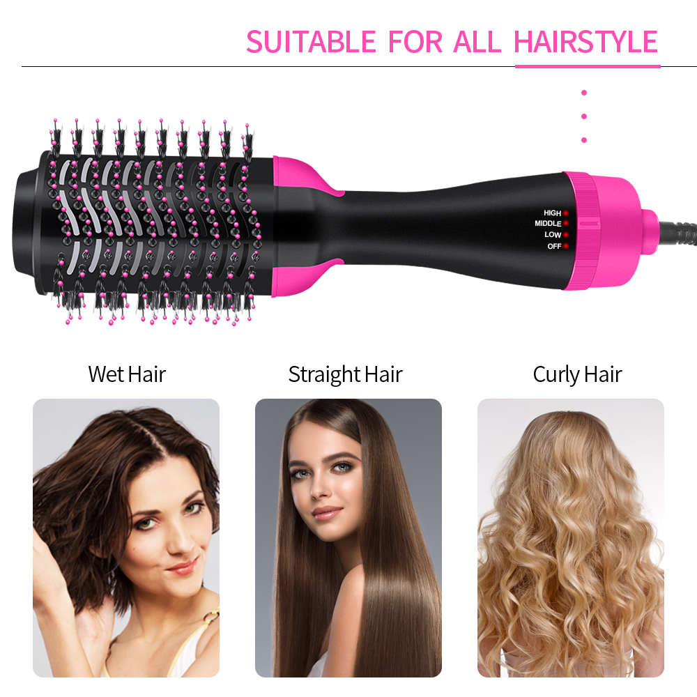 Dropshipping Hair Brush One-Step Hair Volumizer 3 In 1 Dryer Straightener Curler Styling Comb Hot Comb Blow Dryer Brush