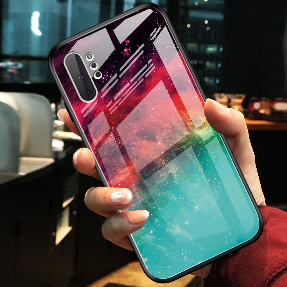 Phone Case For Samsung Galaxy Note 10 Plus Luxury Marble Tempered Glass Soft TPU Frame Cover For Samsung Note 10 Case Note 10+