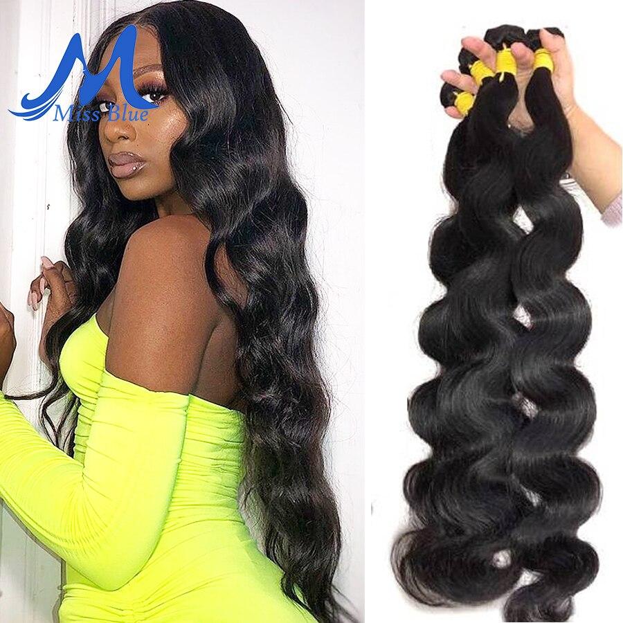 Missblue – tissage en lot péruvien 100% naturel Remy Body Wave, Extension de cheveux, Double dessin, 30 36 38 40 pouces