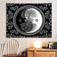 Weiß Schwarz Sonne Und Mond Tapisserie Klatsch Wandteppiche Mandala Wandteppich Hängen Hippie Wand Teppiche Wohnheim Dekor Decke 95x73cm