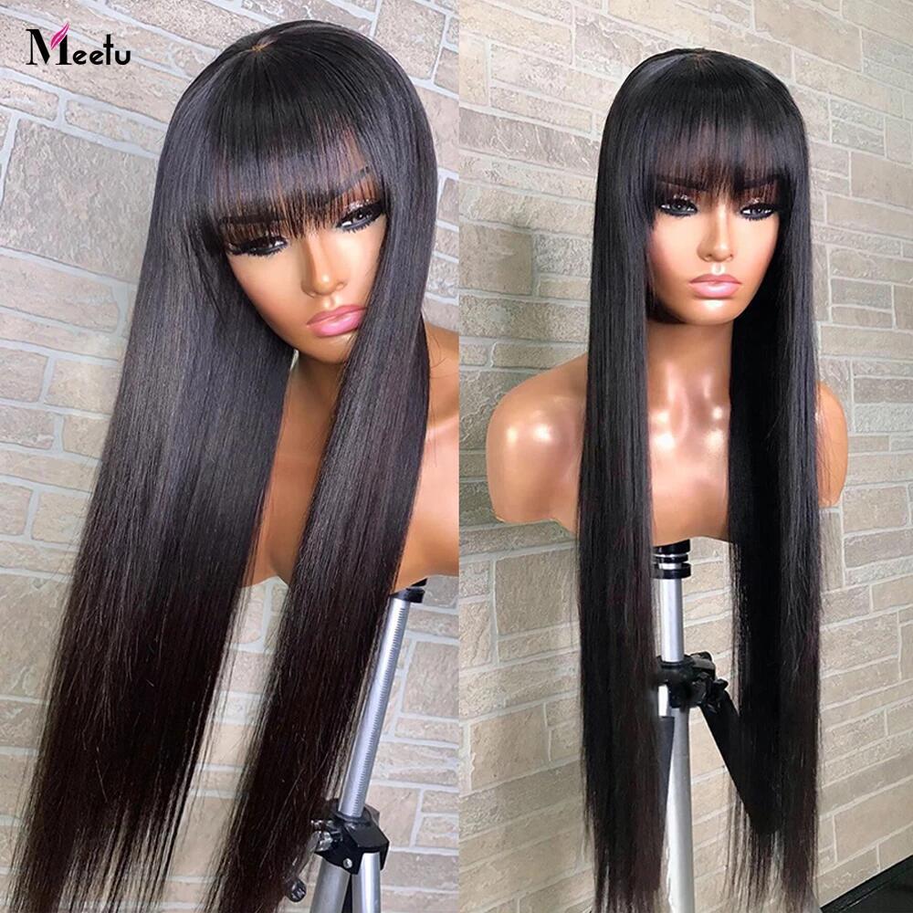 Meetu-pelucas de cabello humano liso con flequillo 30 32 pulgadas, peluca franja de colores, pelucas de cabello humano, jengibre, Borgoña, peluca Remy brasileña barata