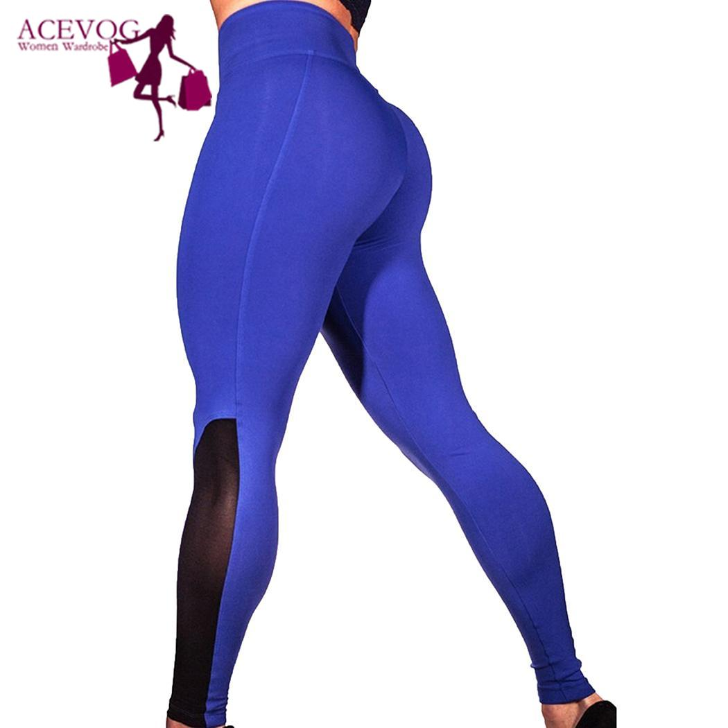 Women Sexy Butt Lift Push Up Skinny Leggings Sheer Mesh Ankle Length Patchwork Yoga Fitness Pants