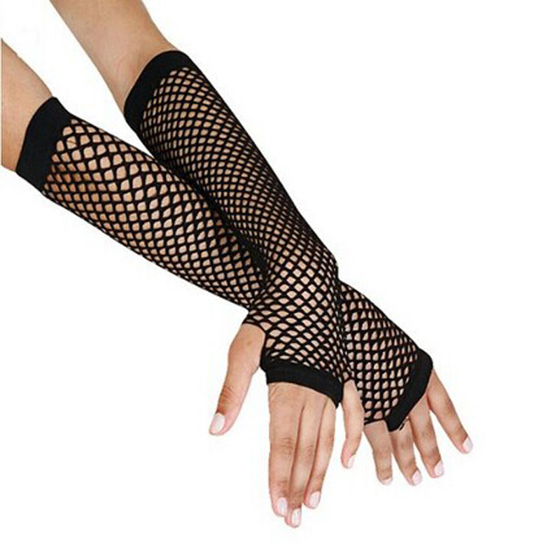 Punk Goth Lady Disco Dance Costume Lace Fingerless Mesh Fishnet Gloves Female Hollow Mesh Fishnet Lace Sexy Gloves Mitaine Femme