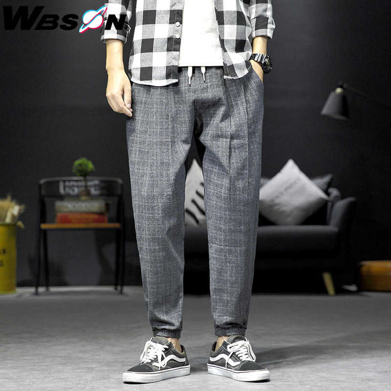 Wbson marca de moda calças xadrez legging homens casual tornozelo comprimento solto harem calças masculino joggers calças M-5XL dcg919