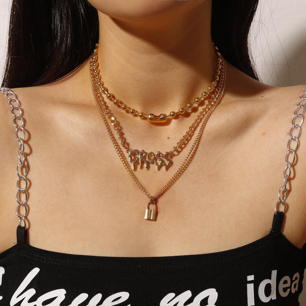Gold Chain Padlock Necklace for Woman Gross Letter Choker Layered Necklace Gothic 2020 Jewerly Statement Beaded Chain Necklace