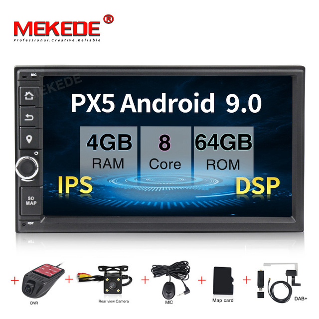 MEKEDE PX5 4+64G 2 Din 7 Android 9.0 Universal Car Radio Double din Stereo GPS Navigation In Dash Pc Video WIFI USB 2din BT