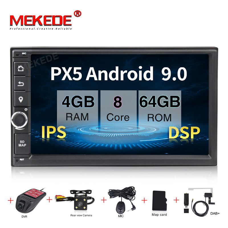 PX5 4+64G Android 9.0 Car Radio Stereo GPS Navigation BT wifi Universal 7'' 2din Car Radio Stereo 8 Core Multimedia Player Audio image