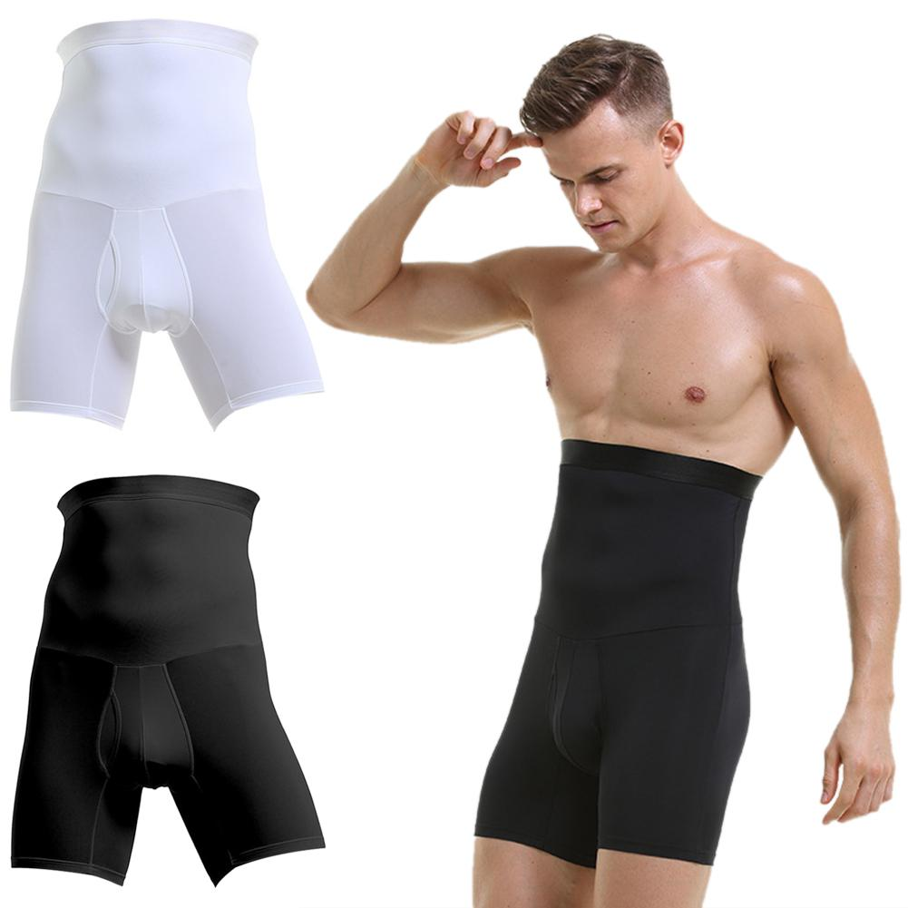 Men Breathable High Waist Slimming Bodysuit Shorts Compression Shapewear Pants Quick Dry Stomach Abdomen Girdle Underwear