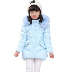 Image 1 - Abrigo para niños, prendas de vestir, sudaderas con capucha de piel de invierno, chaqueta para niñas, adolescentes, cálido, con capucha, abrigo largo de algodón acolchado grueso, 6 8 10 12 14