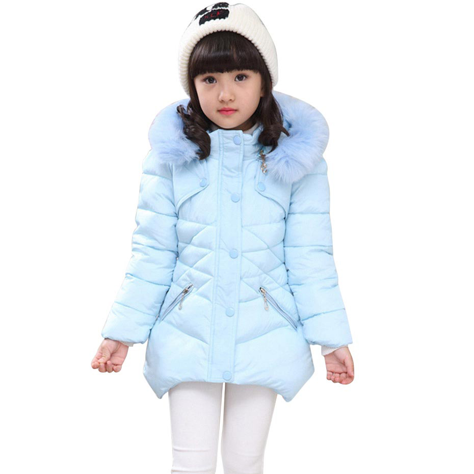 Детское пальто, верхняя одежда, зимняя меховая толстовка, куртка для девочек-подростков, теплая Толстая однотонная куртка с капюшоном и хло...