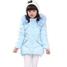 Manteau dhiver pour enfants, veste dhiver à capuche en fourrure pour adolescentes, manteau chaud, épais, rembourré, en coton, solide, 6, 8, 10, 12 et 14