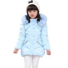 Płaszcz dziecięcy znosić zimowe futrzane bluzy kurtka dla dziewczynek nastoletni ciepły gruby kaptur bawełniany długi trwały płaszcz 6 8 10 12 14