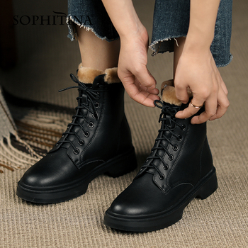 SOPHITINA Women Shoes New Winter Warm High Quality Handmade Ankle Boots Round Toe Lace Up Leisure Motorcycle Boots Women SO691 haraval handmade winter woman long boots luxury flock round toe soft heel shoes elegant casual warm retro buckle solid boots 289