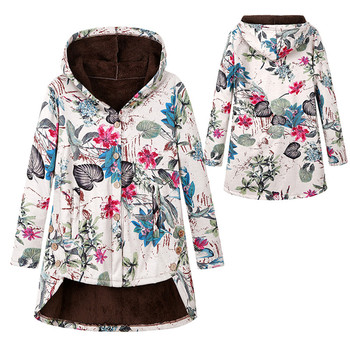 Women Winter Floral Printed Coat Vintage Harajuku Plus Size Loose Casual Jackets Plus Velvet Thick Warm Hooded Fashion Coat 7