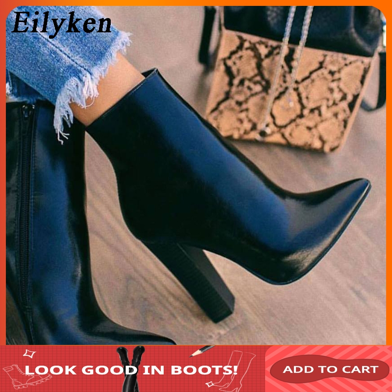 Eilyken 2019 New Winter Women Ankle Boots Fashion Pointed Toe Zip Square High Heels PU Leather Female Boot Black Party Shoes