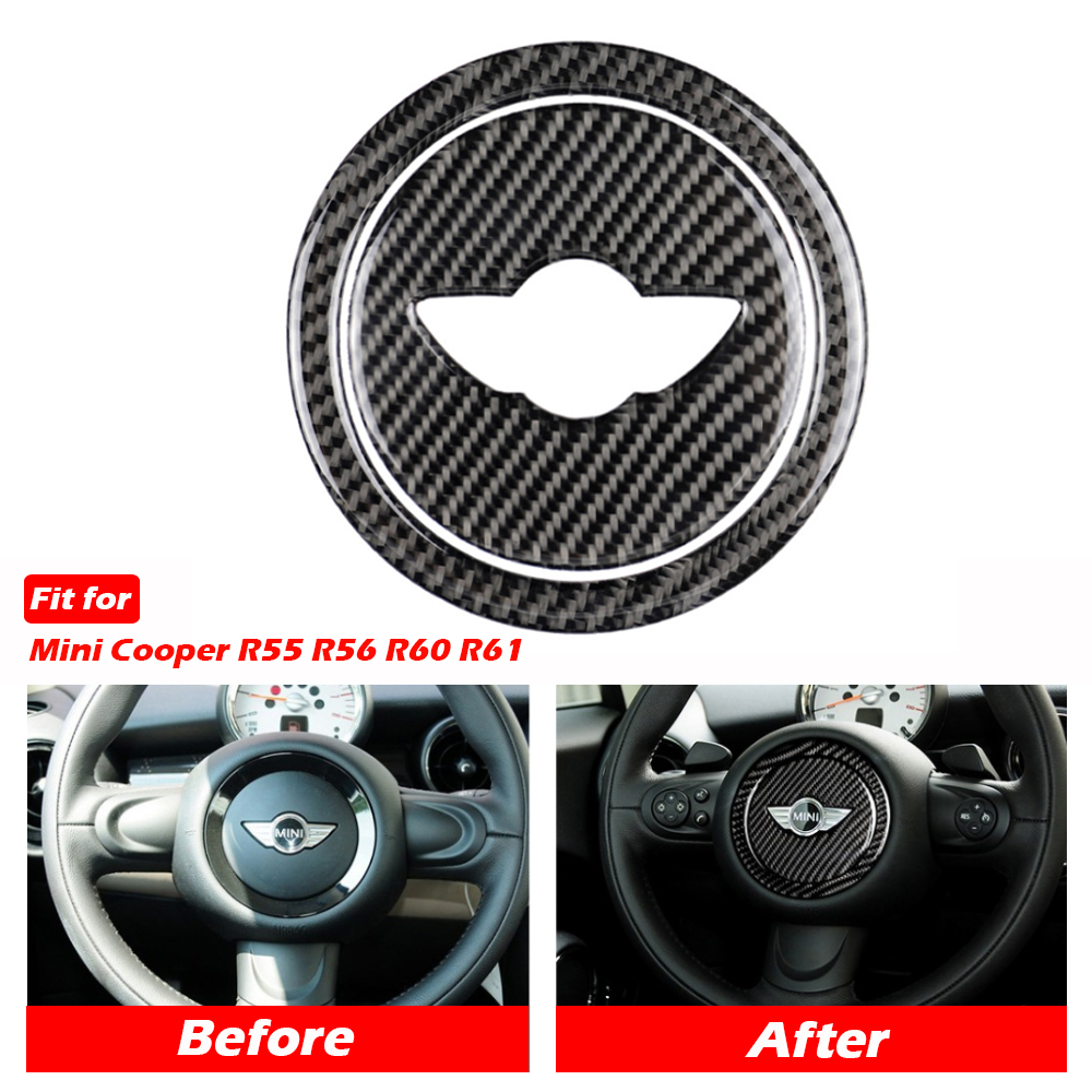 Carbon Fiber Car Steering Wheel Stickers Cover Trim for Mini Cooper Clubman R55 R56 Countryman R60 Paceman R61 Mini Stickers