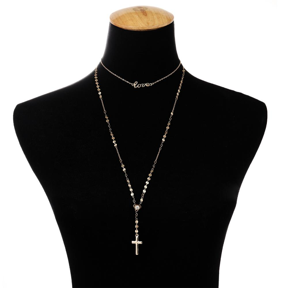 Simple stylish Unique Female Accessories Women Necklace Metal Chain with Letter LOVE Copper Sequins Shiny Rhinestone Necklace in Chain Necklaces from Jewelry Accessories