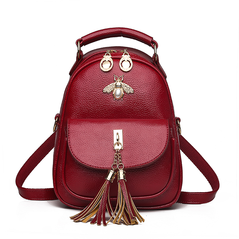 2019 New Leather Women Backpack Tassels School Bags For Teenage Girls Multi function Small Travel Bag Red Mochila Feminina 2018 in Backpacks from Luggage Bags