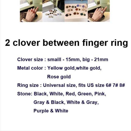 Élégant entre le doigt 2 anneaux de fleurs pour les femmes marque chaude en argent Sterling bague ensemble naturel véritable pierre de haute qualité Bijou cadeau - 3