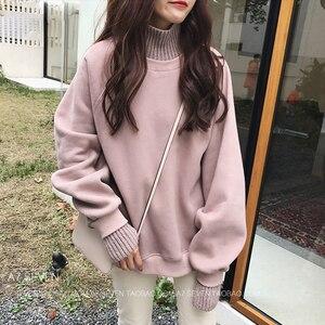 Image 2 - Sudaderas con capucha para mujer, suéter grueso de terciopelo, cálido, de manga larga, cuello alto, holgado, sencillo, para estudiantes, combina con todo, Harajuku, Chic