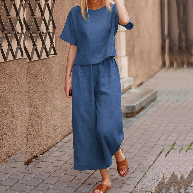 Elegant Short Sleeve Outfit Women Solid Cotton Linen Two Piece Sets Casual O Neck Tops + Wide Leg Pants Suits 3