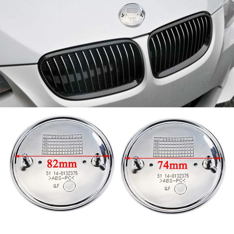 2 دبابيس شعار كروم شعار السيارة هود الجبهة و الجذع الخلفي لسيارات BMW 82 مللي متر 74 مللي متر
