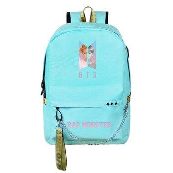 Canvas cute teenagers girls backpack Usb charging sport travel backpack large capacity student bag mochila feminina 1
