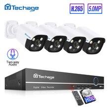Techage h.265 8ch 5mp poe nvr 키트 cctv 시스템 양방향 오디오 ai ip 카메라 ir 실외 방수 p2p onvif 비디오 감시 세트