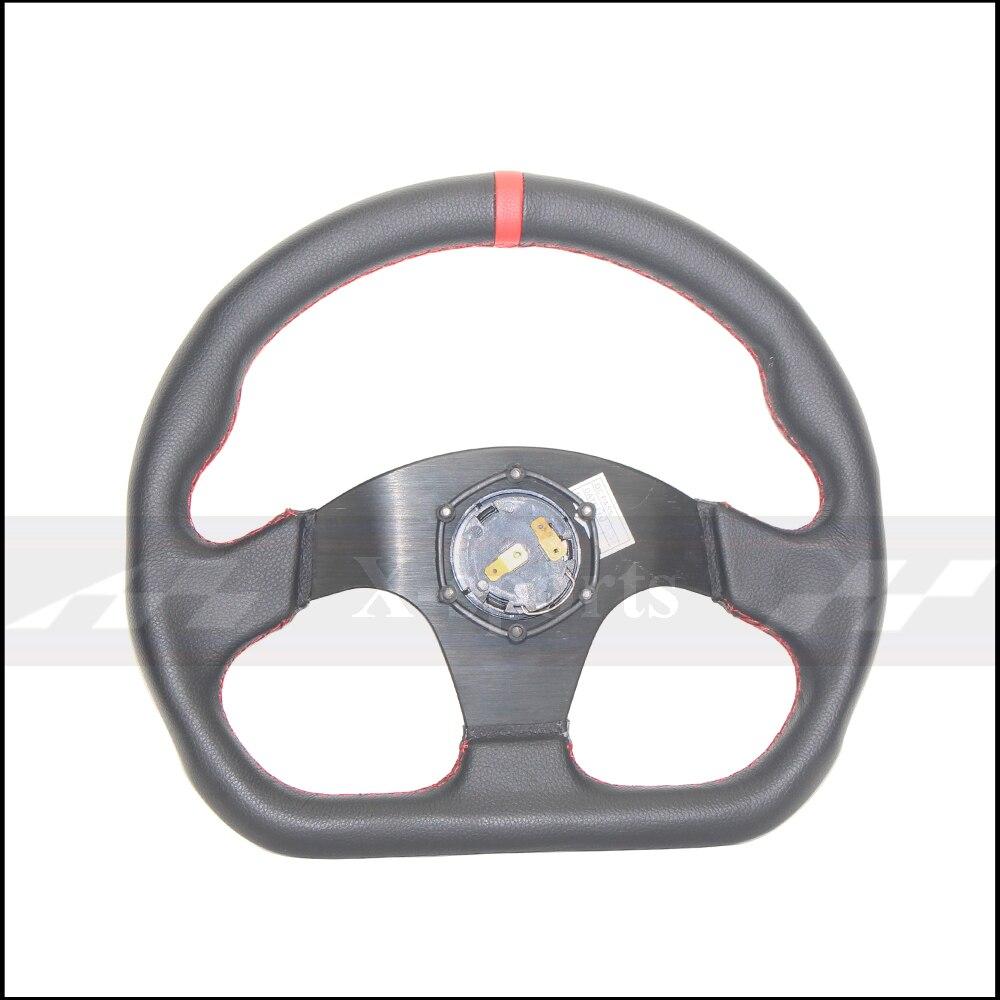 OMP voiture Sport volant de course Type haute qualité universel 13 pouces 320MM aluminium + daim PVC jaune rouge - 6