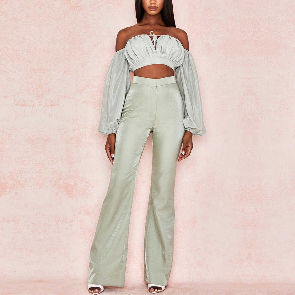Adyce 2019 新着二枚セット長袖ショートトップ & ロングパンツホット販売 2 個女性エレガントなファッションカジュアルセット
