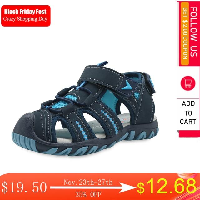 Apakowa marka yeni yaz çocuk plaj erkek sandalet çocuk ayakkabı kapalı ayak kemer desteği spor sandalet ab boyutu 21 32