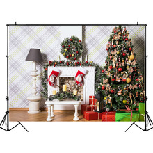 NeoBack Christmas Decor Tree Backdrop Gifts Indoor White Fireplace Photography Backdrops Child Kids Background Photography capisco indoor fireplace merry christmas photo background printed xmas tree toy bear gifts chair new year photography backdrops