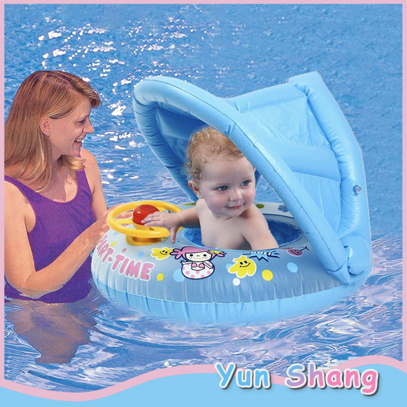 PVC Inflatable Swimming Ring With Awning Baby Bath Swim Circle Infant Children's Bath Ring Swim Pool For Newborn Swimming Ring