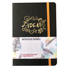 BUKE Cuaderno para realizar bocetos, agenda de cuadrículas bordada, diseño tipo acuarela, grosor de 180GSM 160GSM, 160 páginas, papel grueso, 5x5mm
