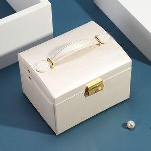 Image 5 - גדול תכשיטי אריזת קופסות ארון הלבשה חזה עם נועלים צמיד טבעת ארגונית נשיאת מקרים עם 2 מגירות 3 שכבות