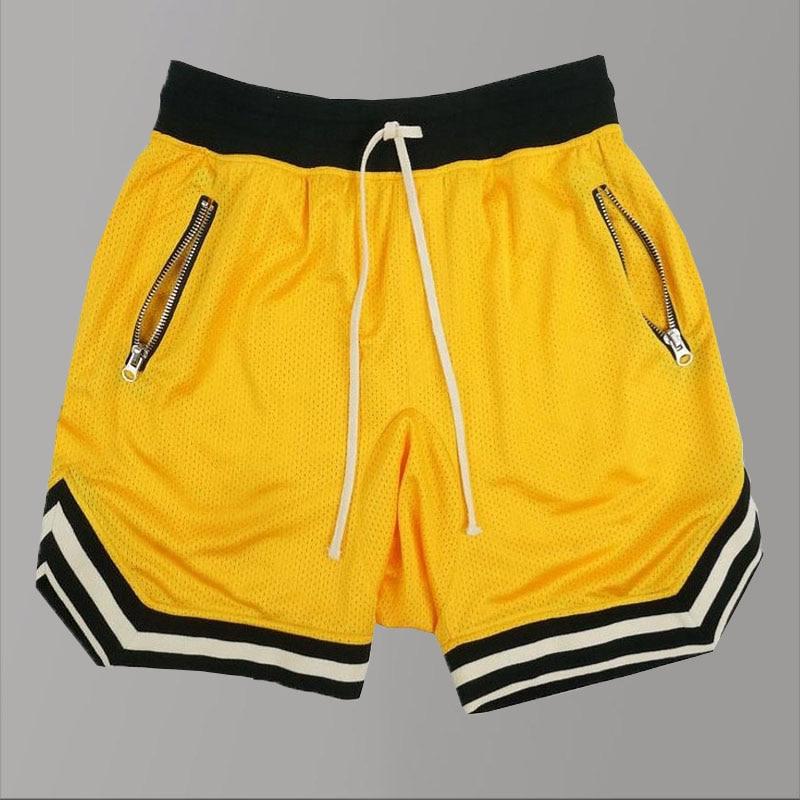 Casual Mens Hip Hop Shorts Yellow/Black Fashion Basketball Shorts 2020 Summer Quick Dry Sport Shorts Gym Spandex Streetwear