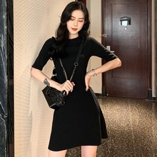 цена на Dress Women Vestidos Sweet Girl Korean Solid Color O-Neck Show Thin Waist Short Sleeve Summer Mini Dress платье женское