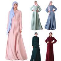 Muslim Women Long Abaya Maxi Dress Robes Kaftan Islamic Dubai Solid Color Autumn Long Sleeve Arab Dress Turkish Malay Robe Gown